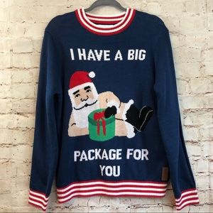 Tipsy Elves Christmas Sweater Santa Big Package